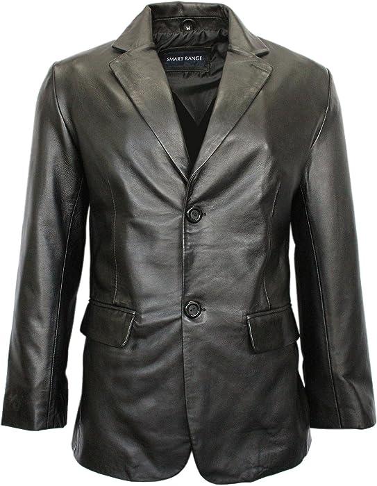 Men/'s Leather Blazer Black 2 Button 100/% REAL LAMBSKIN Jacket Coat 9124