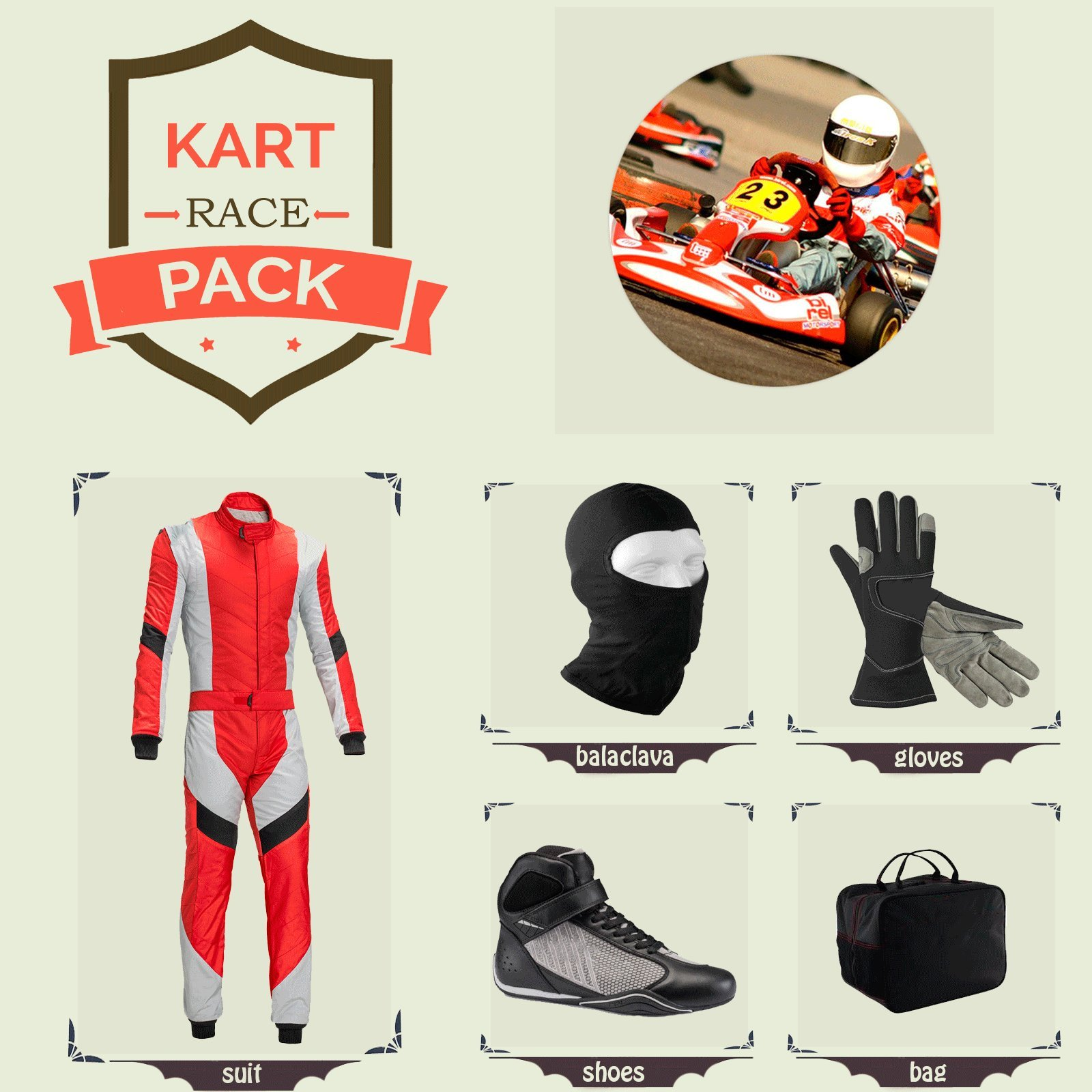 Sports Blue Go Kart Racing Suit Suit,Gloves,Balaclava and Shoes free bag - Red With White Black Style