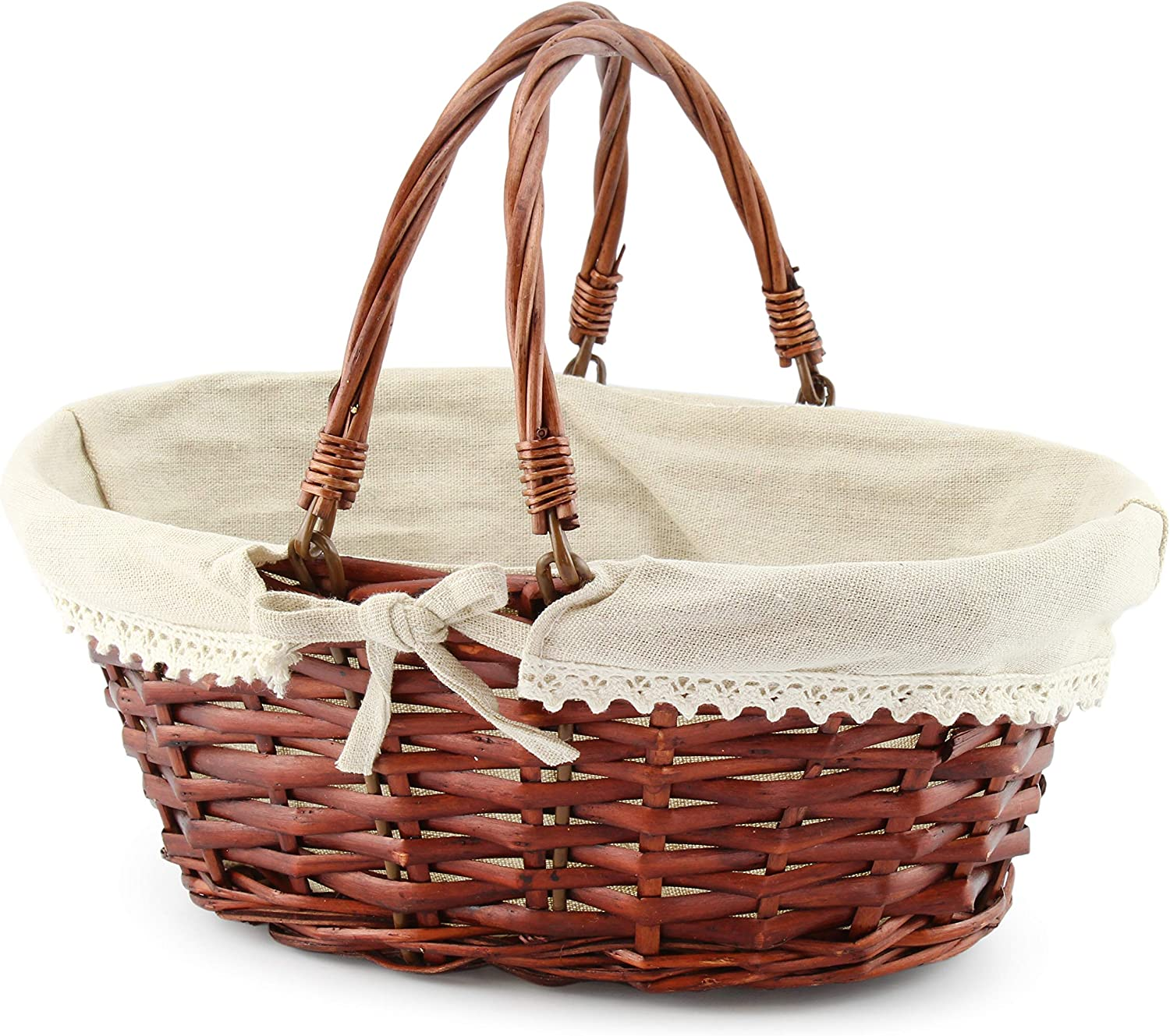 Cornucopia Wicker Basket with Handles (Reddish Brown), for Fall Decor, Easter, Picnics, Gifts, Home Decor and More, 13 x 10 x 6 Inches…