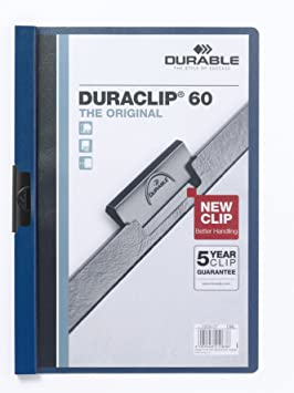 DURABLE Klemmhefter DURACLIP ORIGINAL PVC 60 Blatt DIN A4 transparent//dunkelblau