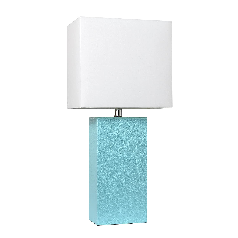 Elegant Designs LT1025-AQU Modern Leather Table Lamp with with White Fabric Shade, Aqua
