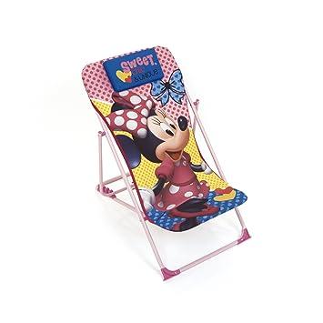 ARDITEX – Sillón de jardín/Playa Ajustable y Plegable para niños bajo Licencia Minnie Mouse en Metal, tamaño: 43 x 66 x 61 cm, Tela, 61 x 43 x 66 cm