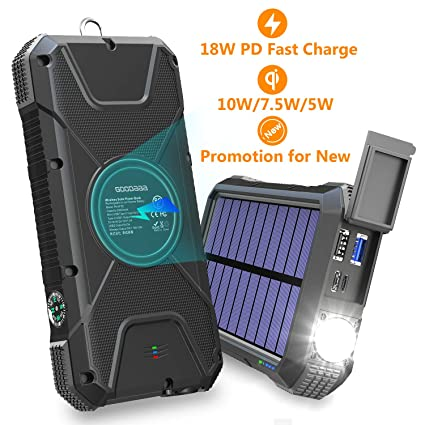 Amazon.com: Cargador solar portátil de 20.000 mAh, 18 W PD y ...