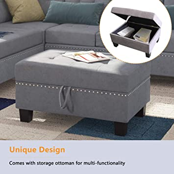 BEIZ TRADING Sectional Sofa Set with Chaise Lounge and Storage Ottoman Nail Head Detail for Living Room Furniture (Grey)