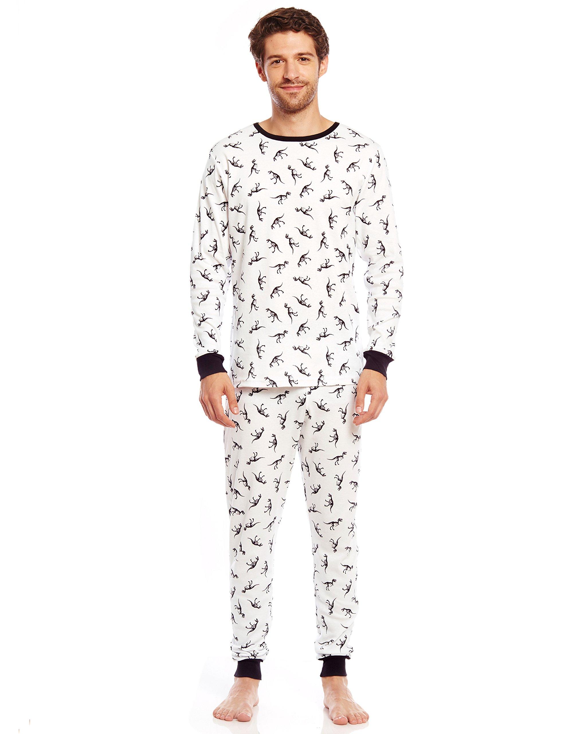 Leveret Men's Dinosaur 2 Piece Pajama Set 100% Cotton (X-Small) by Leveret (Image #1)