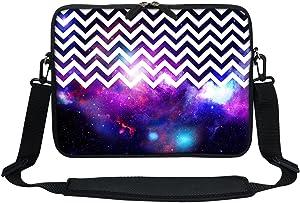 Meffort Inc 11.6 12 Inch Neoprene Laptop Sleeve Bag Carrying Case with Hidden Handle and Adjustable Shoulder Strap - Chevron Pattern Galaxy