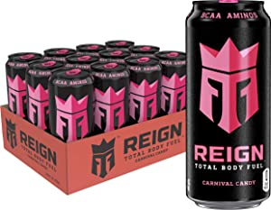 Reign Total Body Fuel, Carnival Candy, Fitness & Performance Drink, 16oz (Pack of 12)