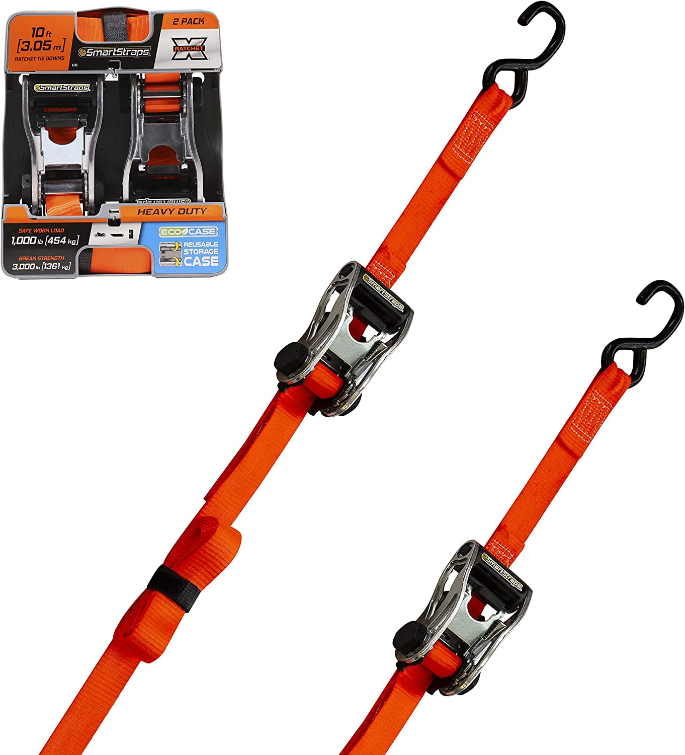 SMARTSTRAPS 14-Foot Premium Ratchet Straps 3,000 lbs Break Strength 1,000 lbs Safe Work Load 4pk User-Friendly Ratchet Straps Haul Heavy-Duty Loads Like Boats and Appliances Strong