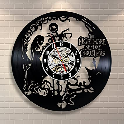 nightmare before christmas home decor vinyl record clock wall art