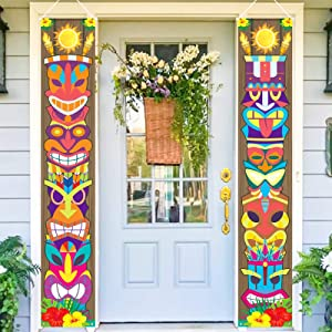 Tiki Banner Luau Party Decoration Tiki Porch Sign Banner Hawaii Tropical Wall Hanging Home Decor Hibiscus Tropical Rest Tiki Bar Jungle Party Backdrop Sun Torch Wooden 12 X71 Inch