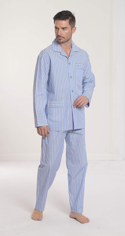 El Búho Nocturno Pijama de Caballero | Pijama de Hombre de Manga Larga clásico a Rayas | Ropa de Dormir para Hombre - Tela Popelín, 100% algodón - Color ...