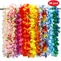 Twister.CK 36pcs Hawaiian Lei fleur guirlande, fleur de soie guirlande bandeau Hula pour Luau Summer Beach Party Costume Dress