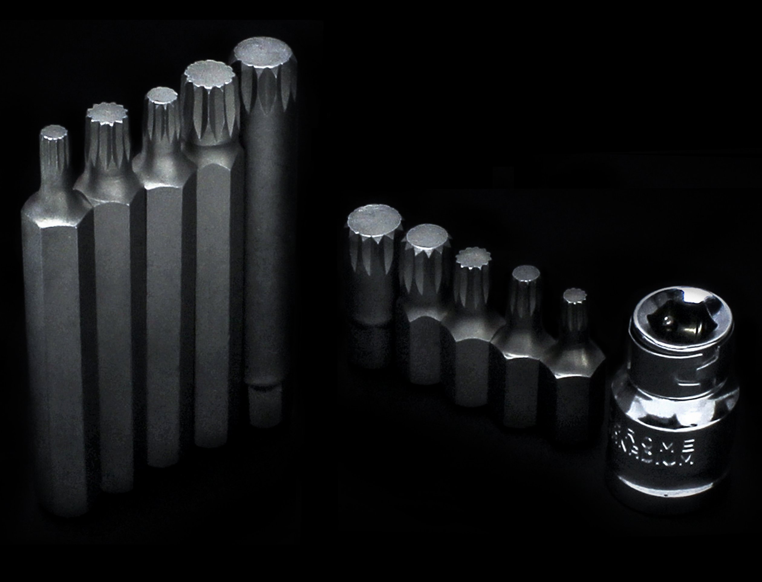 Bastex 11 piece Triple Square Socket Spline Bit 12 Point Set, CrV Steel by Bastex (Image #7)