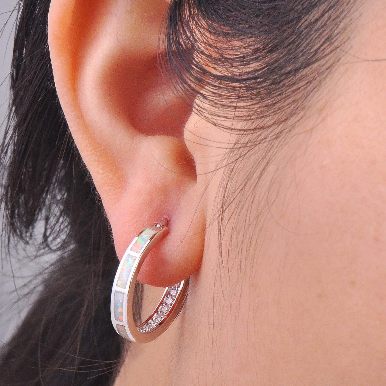 Pendientes de plata de ley 925 con piedras para mujer Rongxing dise/ño ovalado color blanco y azul