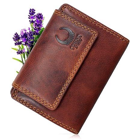 80992075144ca Geldbörse Damen   Herren Leder I Geldbeutel mit TÜV-zertifizertem RFID  Schutz I Echtleder Brieftasche