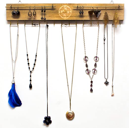 Amazon Com Jewelry Display Necklace Holder Wall Mount 17 Rustic Jewelry Organizer Wall Mounted 16 Hooks Wood Jewelry Rack Necklace Hanger Wall Mount Pine Wood Home Improvement