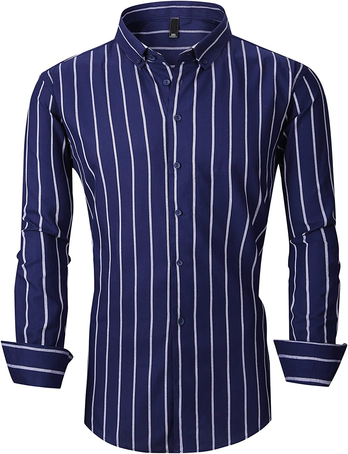 Sweatwater Mens Hipster Button Down Striped Long-Sleeve Slim Fit Shirts