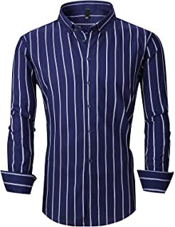 Domple Mens Business Stripe Print Casual Slim Fit Long Sleeve Button Down Dress Shirt