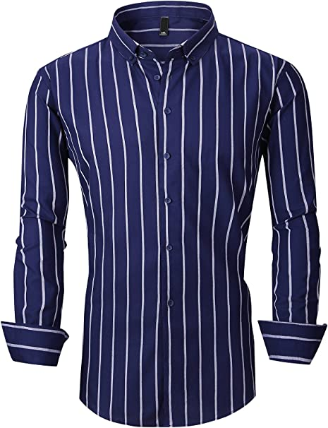 YYear Mens Cotton Buttons Oxford Slim Fit Casual Lapel Simple Non-Iron Striped Shirts