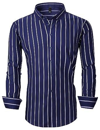 1b903bb627 XTAPAN Men's Long Sleeve Casual Slim Fit Vertical Striped Button Down Dress  Shirt Asian L Dark