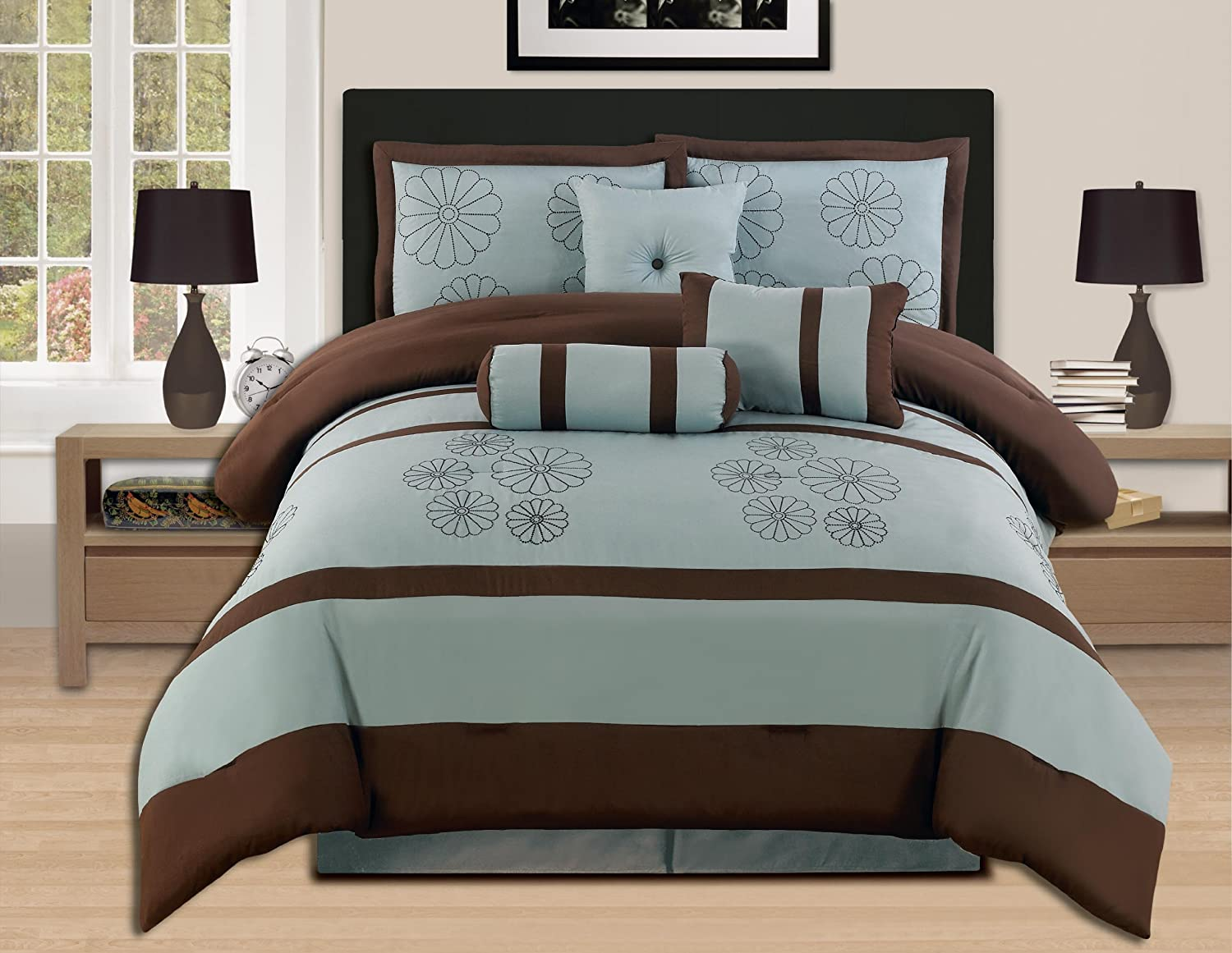 amazoncom 7 pieces brown aqua blue embroidery comforter set bedinabag queen home u0026 kitchen