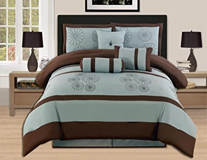 7 Pieces Brown Aqua Blue Luxury Embroidery Comforter Set Bed In A Bag