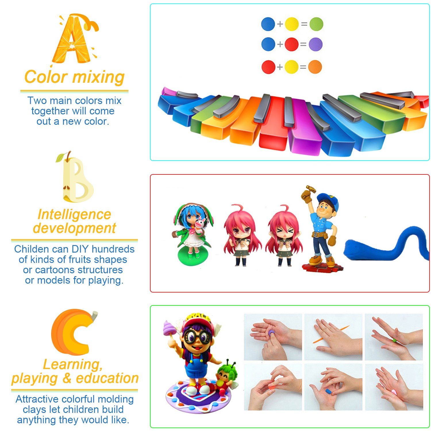 amazoncom sysrion air dry clay 24 colors ultra light modeling clay magic crafts kit with vegetables and fruits modes toys u0026 games