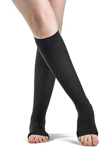 SIGVARIS SOFT OPAQUE 840 Open Toe Calf Compression Socks 15-20mmHg