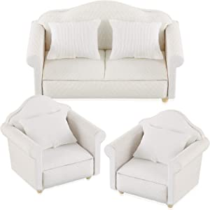 3 Pieces Dollhouse Sofa Miniature Dollhouse White Fabric Sofa with Pillow for 1:12 Scales Miniature Dollhouse Furniture Living Room Suite Dollhouse Decoration Accessories Toy