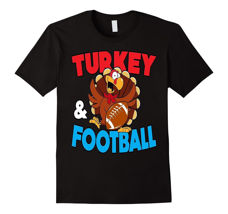 Thanksgiving Turkey and Football T-Shirt Holiday-T-Shirt