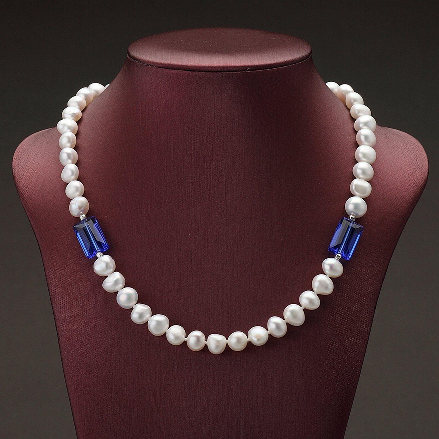 MMC Womens Necklaces Pendants Baroque Style Pearl Blue Crystal Silver Jewelry