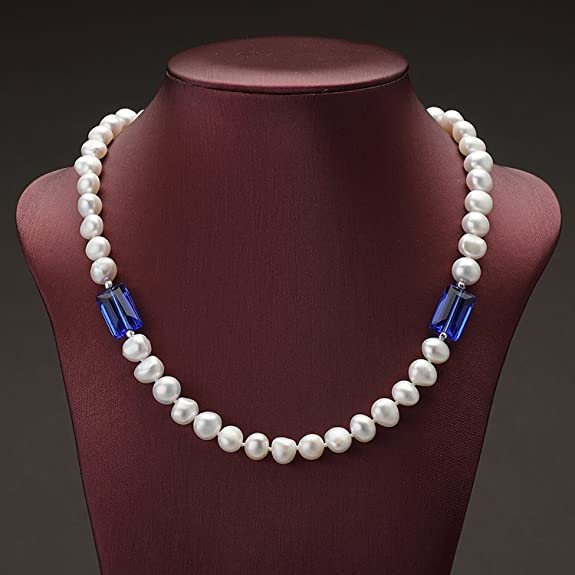 CS-DB Pendants Baroque Style White Pearl Silver Necklaces