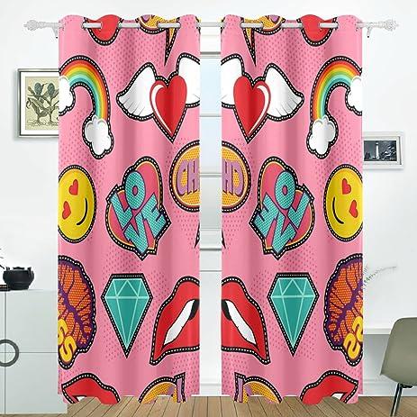 Amazon.com: ALIREA Emoji Pink Pop Art Stitch Patch Pattern Blackout ...