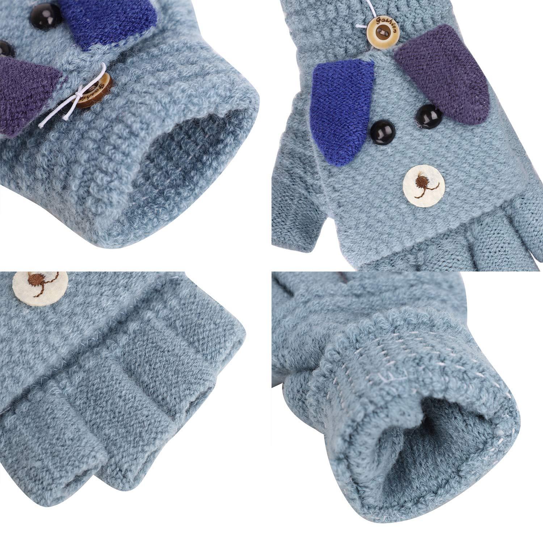 Boys Girls Flip Top Gloves Winter Warm Mitten Knit Thermal Fingerless Gloves for Kids Children Students Half Finger Glove Toddler Hand Warmer Running Riding Driving Ski Snow Gifts