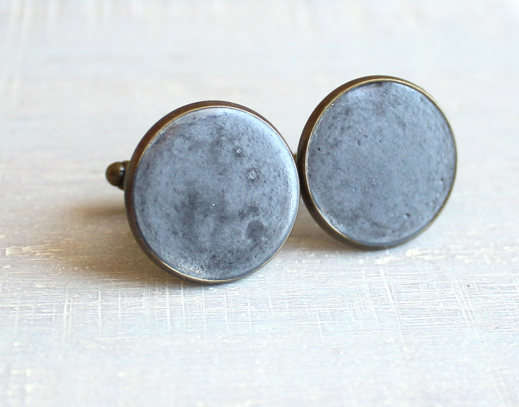 Charcoal color concrete and brass cufflinks