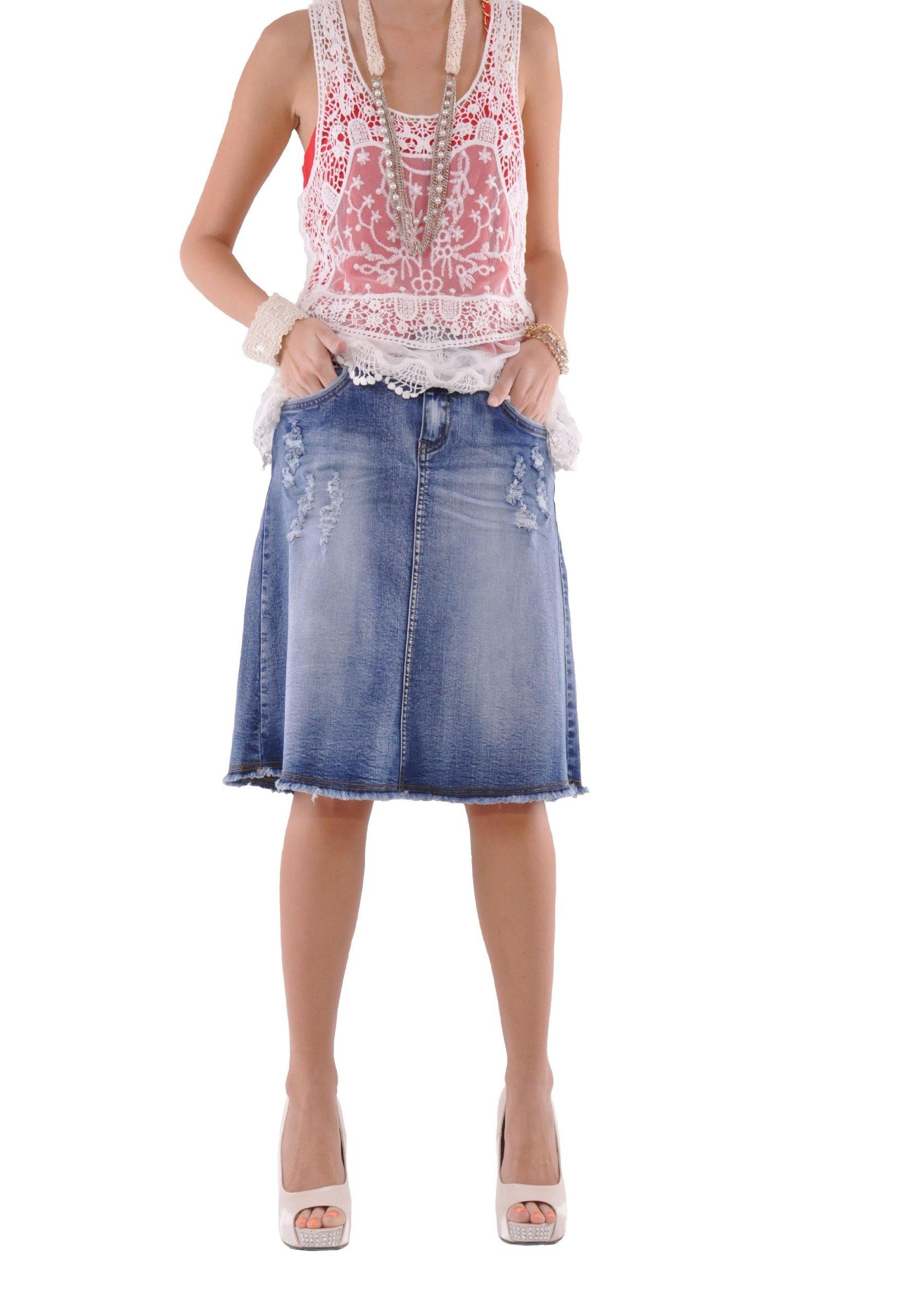 Style J Rock N Ripped Jean Skirt-Blue-32(12)