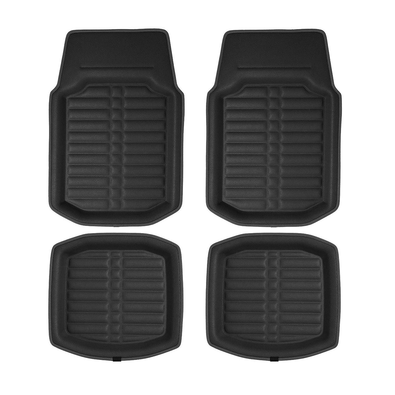 Black Color FH Group F12002 Luxury Universal All-Season Heavy Duty Faux Leather Car Floor Mats Diamond Design w High Tech 3-D Anti-Skid//Slip Backing