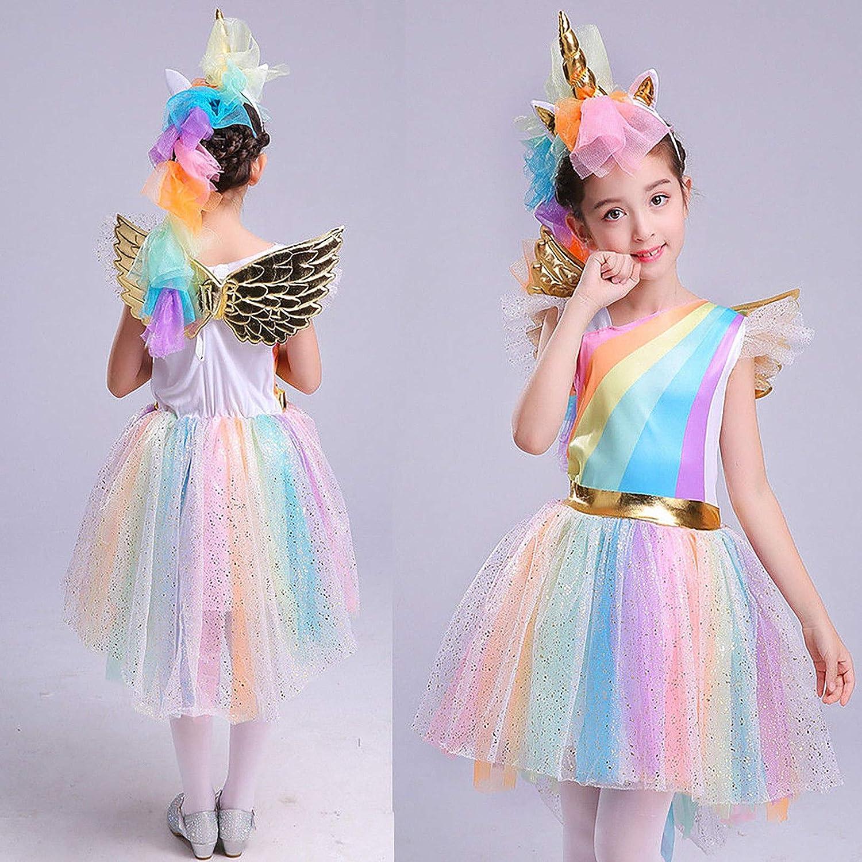 Vestito da Unicorno tut/ù Costume da Principessa per Bambina 3-4 Anni 104 cm