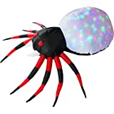 Inflatejoy Halloween Inflatable Blow-up Spider with Kaleidoscope Light Inside - 4 Ft Wide