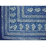 "Block Print Square Cotton Tablecloth 58"" x 58"" Indigo Blue"