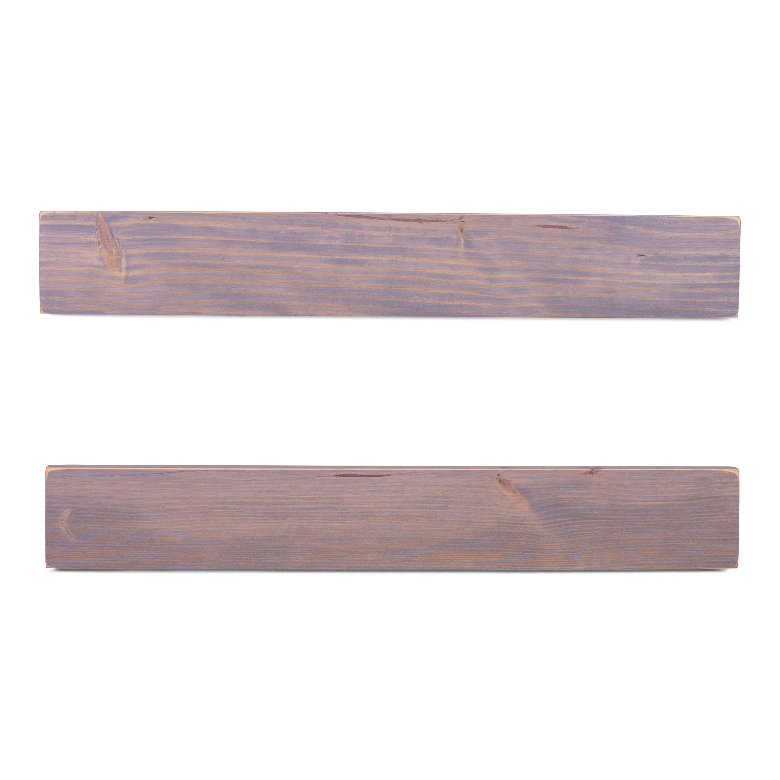 DAKODA LOVE 5.25'' Deep Weathered Edge Floating Shelves, USA Handmade, Clear Coat Finish, 100% Countersunk Hidden Floating Shelf Brackets, Beautiful Grain Pine Wood Rustic (Set of 2) (36'', Greige) by DAKODA LOVE (Image #4)