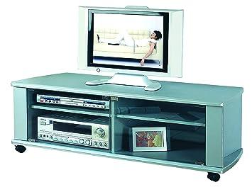 PORTA TV LEGNO MDF SILVER ANTINE VETRO CON RUOTE MD 120: Amazon.it ...