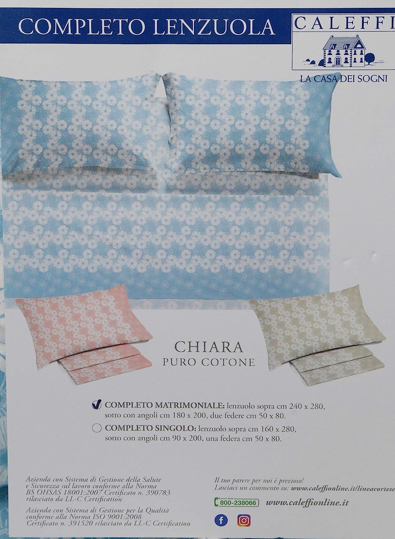 Azzurro 008 Caleffi Completo di Lenzuola matrimoniali in Puro Cotone Art Chiara