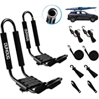 Codinter Kayak Roof Rack Aluminum Kayak Canoe Carrier J-Style Folding Roof Holder for SUV Car Top Mounted