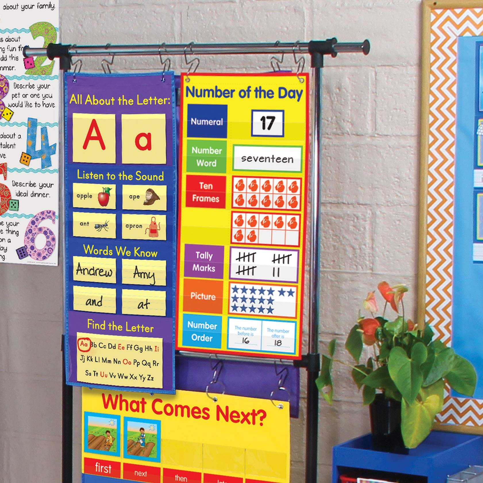 Really Good Stuff All About Letters Pocket Chart - Get Students Involved in Learning The Alphabet, Letter Sounds and Reading Basics - Grommets and Magnetic Strip for Easy Hanging, 14'' x 37''