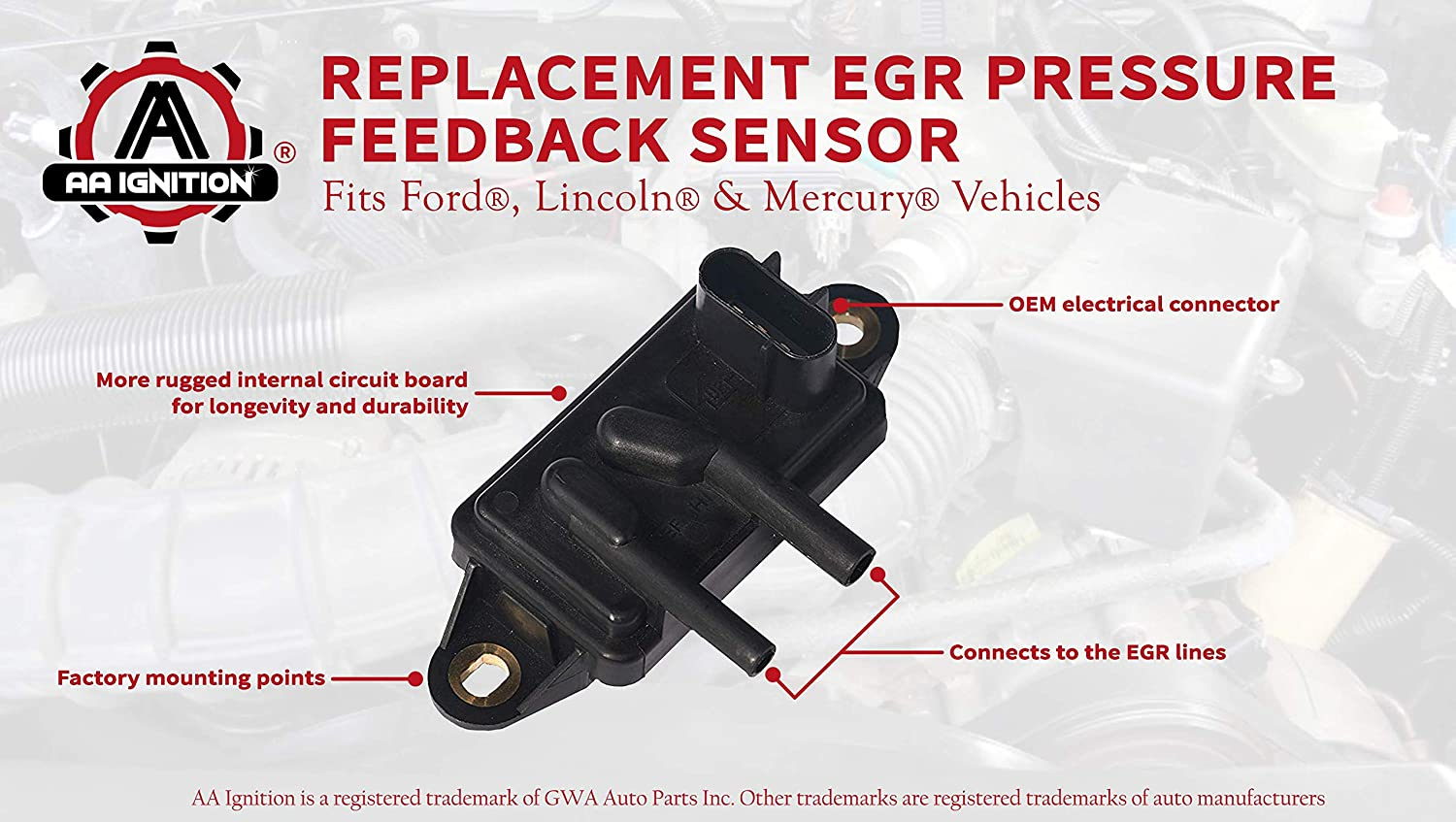 EGR Exhaust Gas Recirculation Pressure Feedback Sensor For Ford Lincoln Mazda Mercury Replaces DPFE15 EPS4
