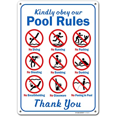 """Kindly Obey Swimming Pool Safety Sign, Swim at Your Own Risk, Made Out of .040 Rust-Free Aluminum, Indoor/Outdoor Use, UV Protected and Fade-Resistant, 10"""" x 14"""", by My Sign Center: Industrial & Scientific"""