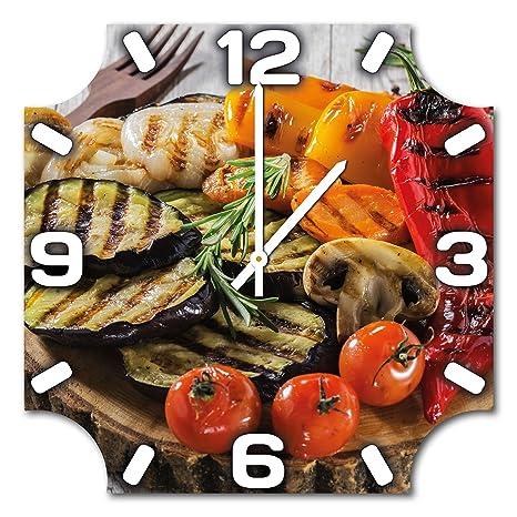 Verduras parrilla platos, diseño reloj de pared de aluminio ...