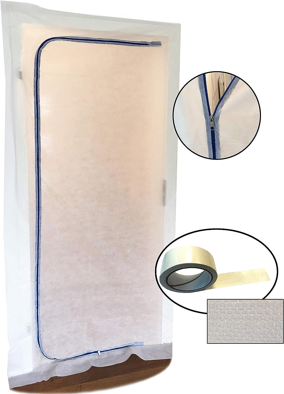 Polvo Protección para puerta (Fieltro) con doble cara y con cremallera, antipolvo, bautür, 1,10x 2,20m, etc., para renovierungen & umbauten, de Tapón Antipolvo de tejido de polipropileno (PP)