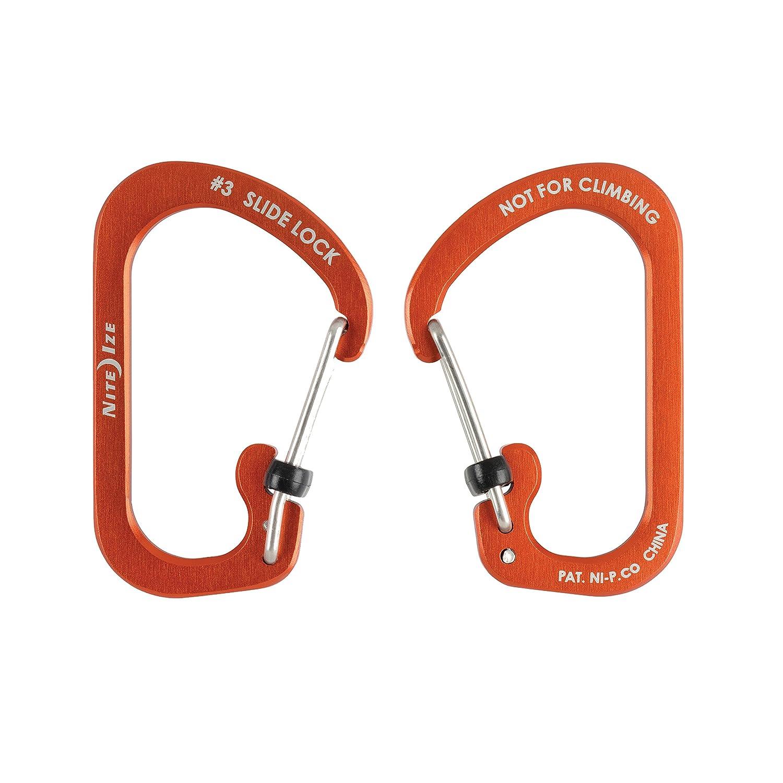 Nite Ize CSLA2-19-R6 SlideLock Carabiner Aluminum #2 Orange